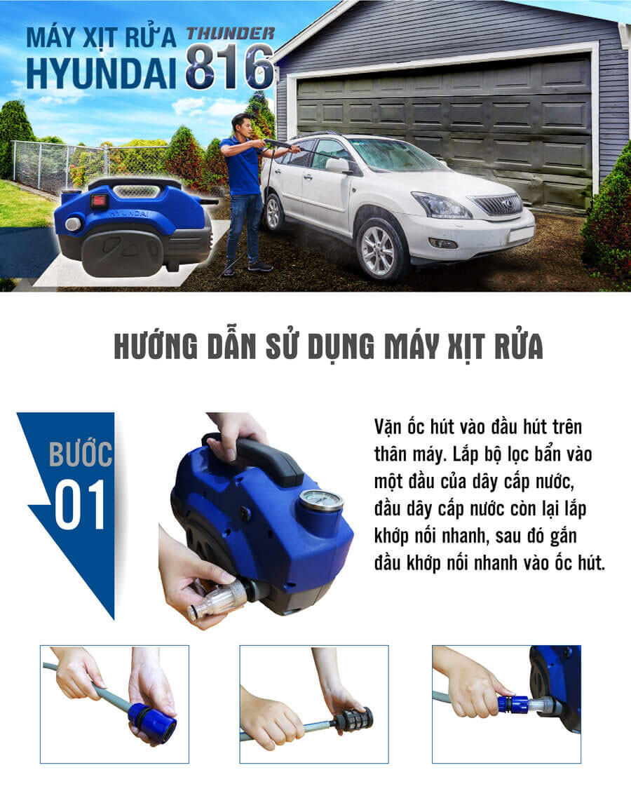 Máy xịt rửa xe áp lực HYUNDAI HRX816 (1600W)