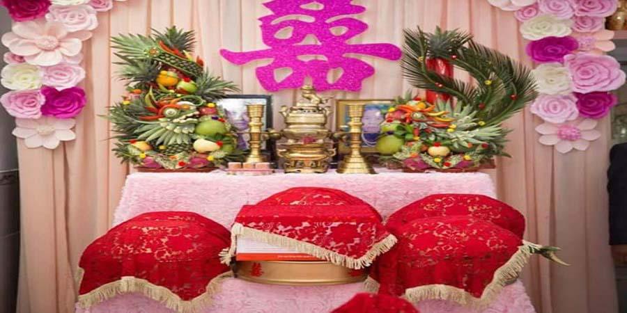 Cách trang trí bàn thờ gia tiên trong ngày cưới hỏi
