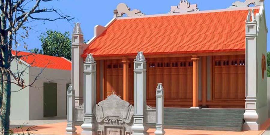Nhà thờ tổ bằng gỗ lim một tầng mái xuông