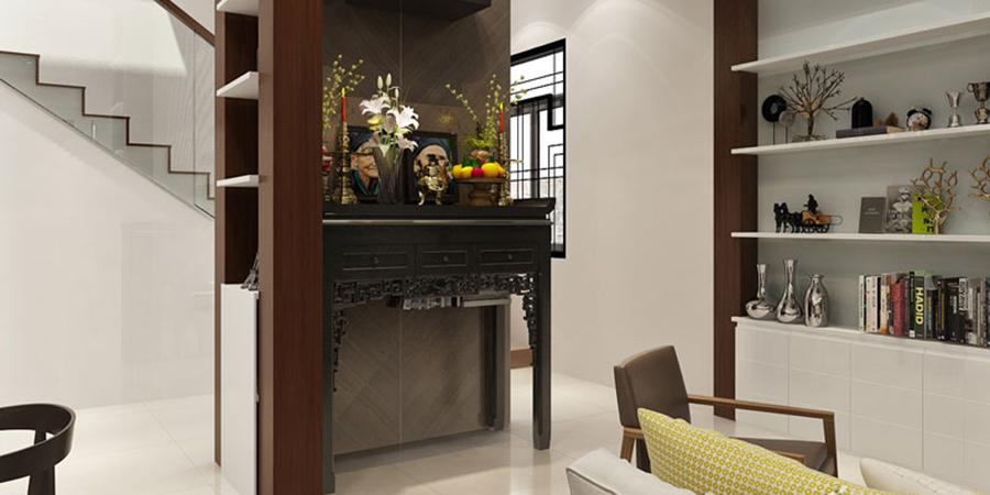 Thiết kế bàn thờ trong phòng khách hợp phong thuỷ