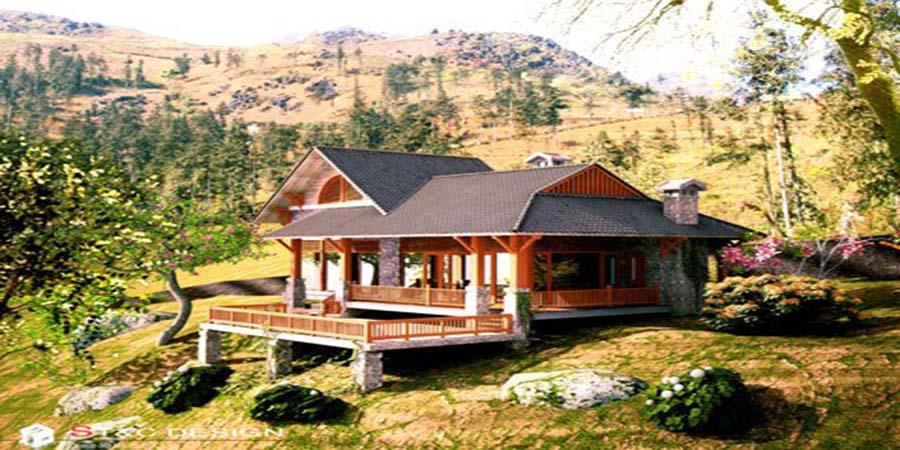 Nhà gỗ 1 tầng đẹp và độc đáo.