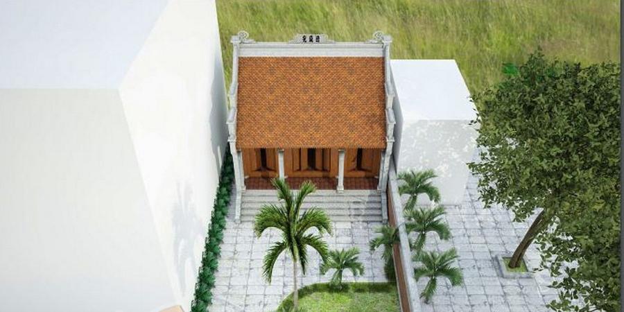 Nhà thờ họ 2 mái với sân rộng, cây cối, tiẻu cảnh