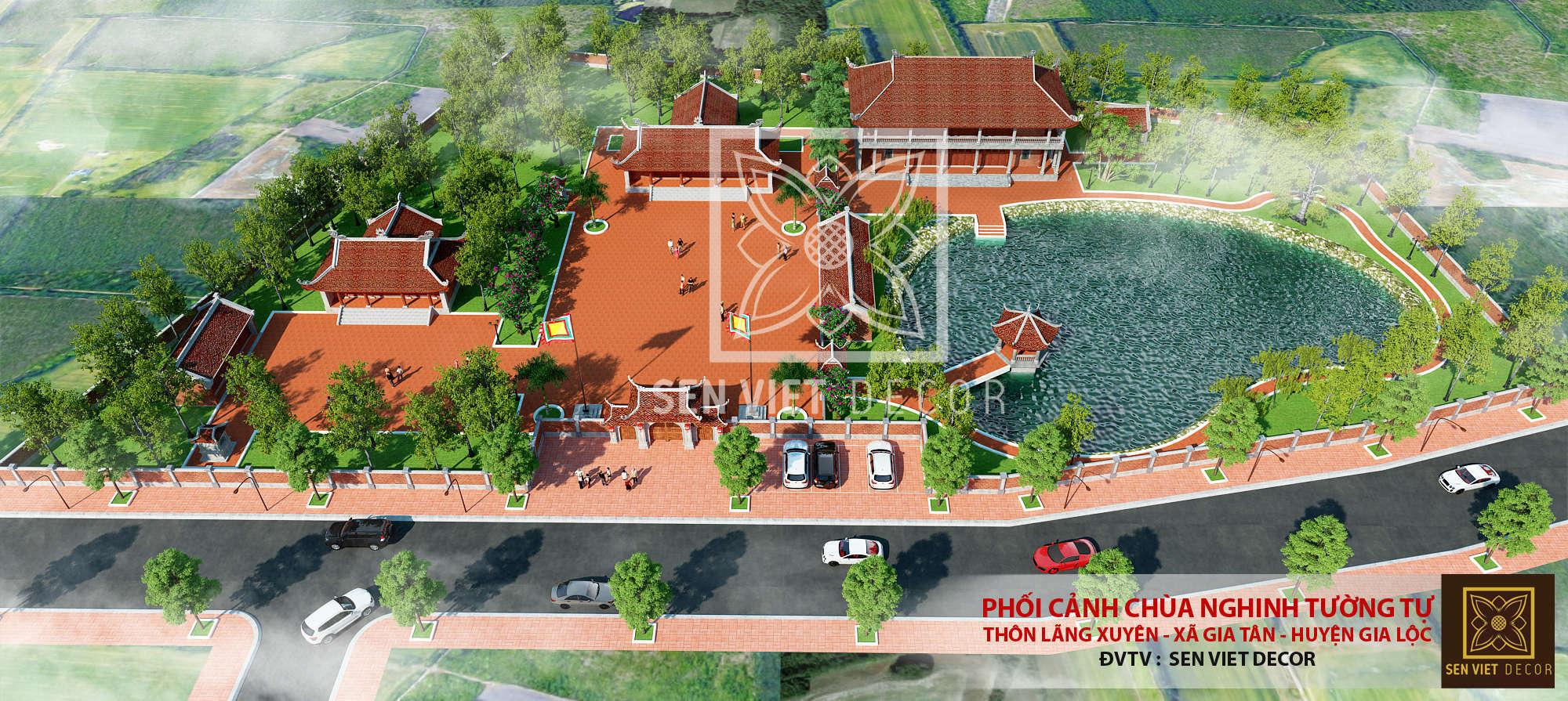 Phối cảnh công trình chùa nghinh tường tự thôn lãng xuyên xã gia tân huyện gia lộc