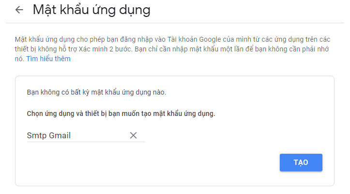 Nhập tên ứng dụng google