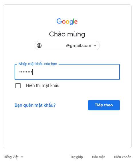 Nhập mật khẩu tài khoản google