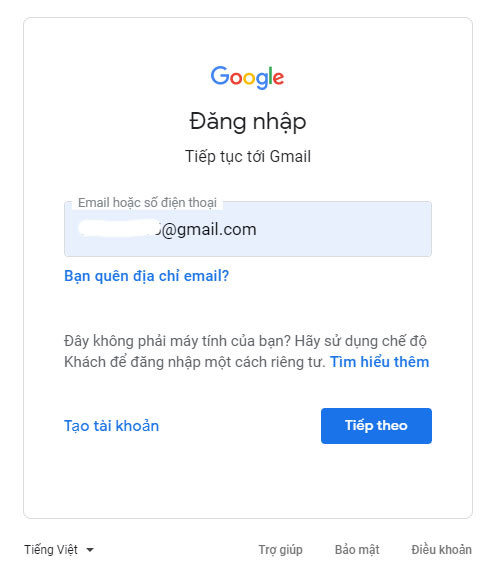 Nhập tài khoản google