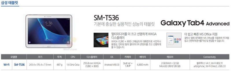 Thông số cấu hình của Galaxy Tab 4 Advanced bằng tiếng Hàn
