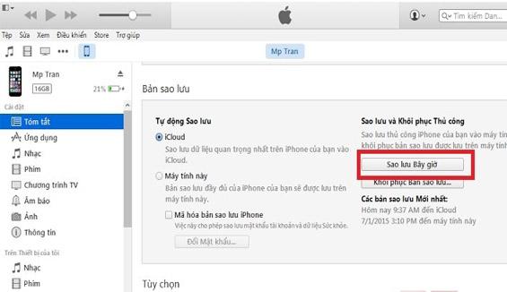 iPhone 7 báo chưa được sao lưu phải làm thế nào?