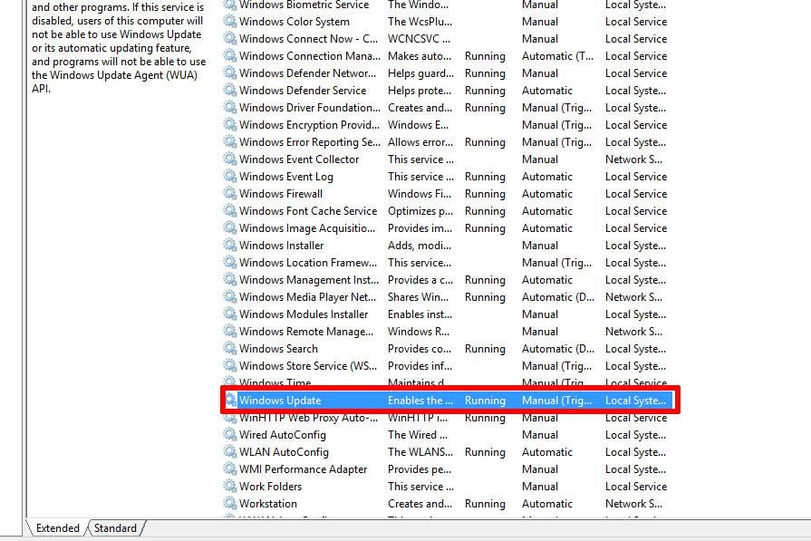 Kéo xuống click vào Windows Update