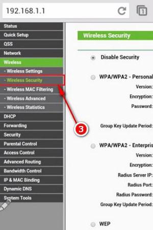 Bạn vào Wireless Security