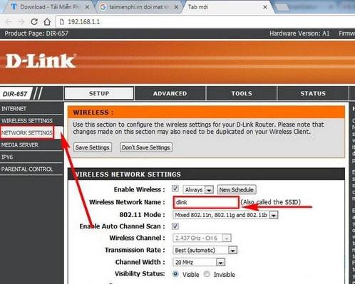 Đổi tên mật khẩu tại Wireless Network Name