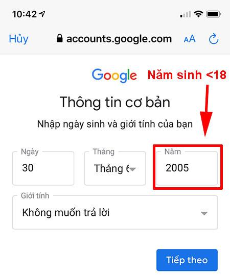 Đăng ký gmail không cần số điện thoại bằng iphone