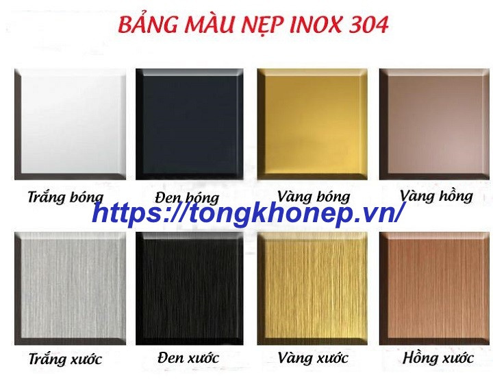 Bảng màu nẹp inox 304