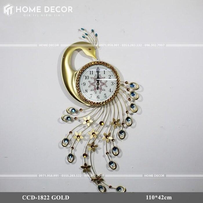 Đồng hồ treo tường con công trang trí phòng khách HT-1822 GOLD