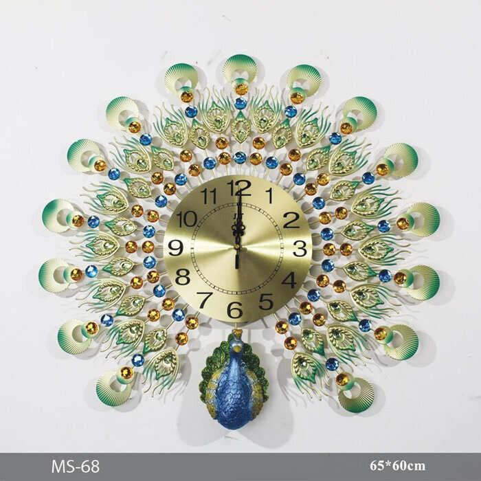 Đồng hồ treo tường hình công HT-1863 Gold - Đồng hồ hình con công vàng treo tường
