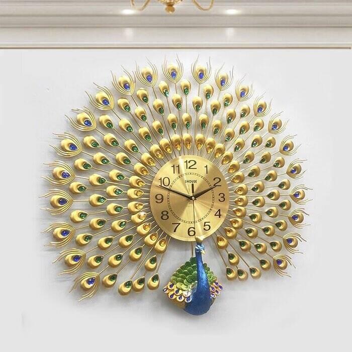 Đồng hồ Decor HT-174B Gold - Đồng hồ con công vàng 3d