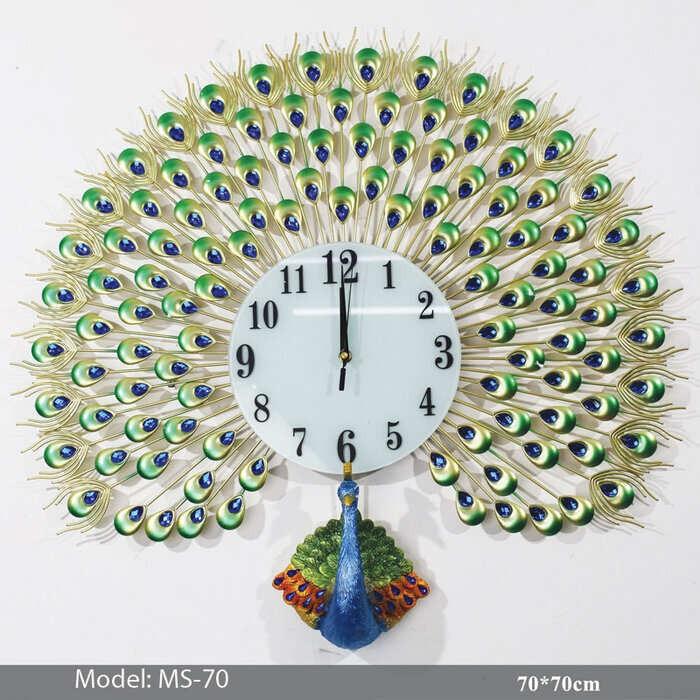 Đồng hồ con công đơn HT-174 Color - Đồng hồ treo tường con công giá rẻ