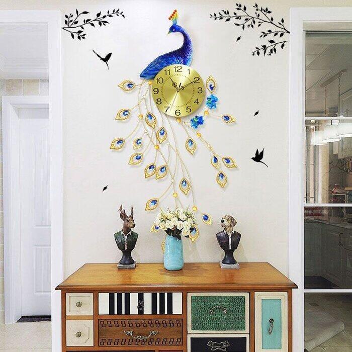 Đồng hồ đuôi công trang trí phòng khách HT-1858 Gold - Đồng hồ treo tường con công giá rẻ màu vàng