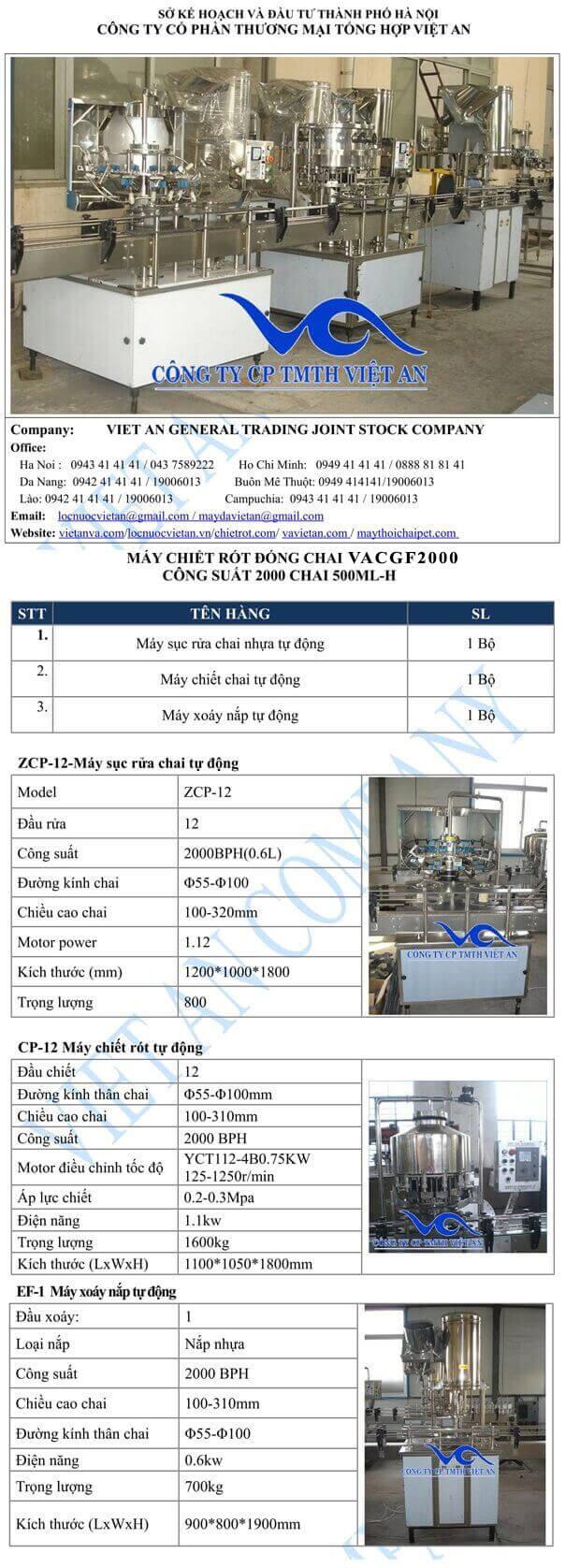 cấu hình máy chiết rót VACGF 2000