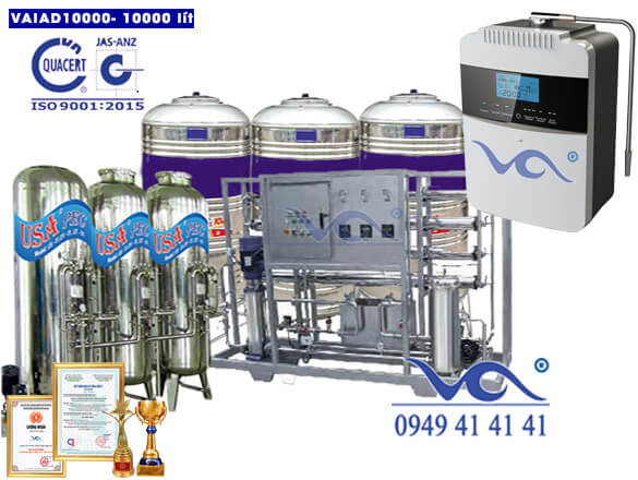 Dây chuyền lọc nước điện giải ion kiềm 10000 lít/h VAIAD10000