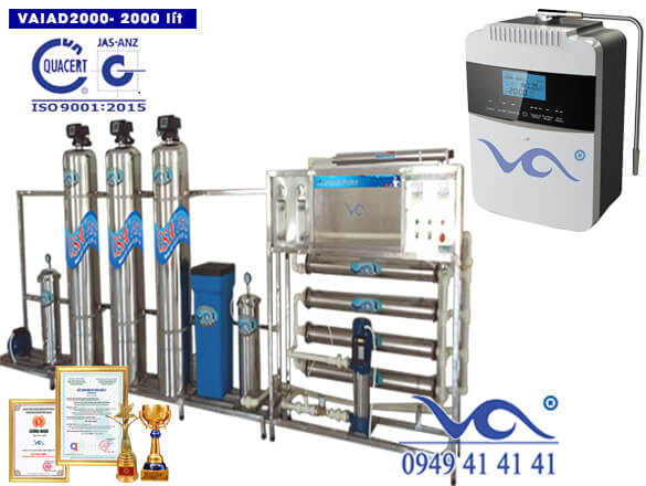 Dây chuyền lọc nước điện giải ion kiềm 2000 lít/h VAIAD2000