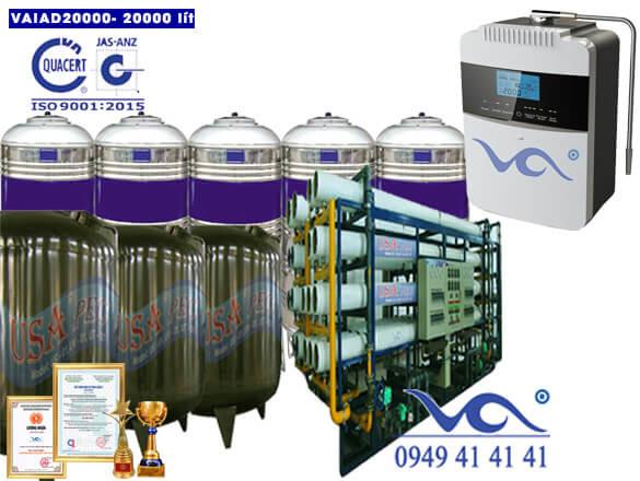 Dây chuyền lọc nước điện giải ion kiềm 20000 lít/h VAIAD20000
