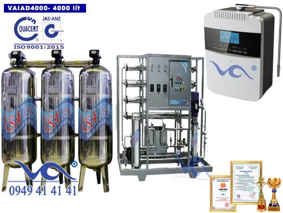 Dây chuyền lọc nước điện giải ion kiềm 4000 lít/h VAIAD4000