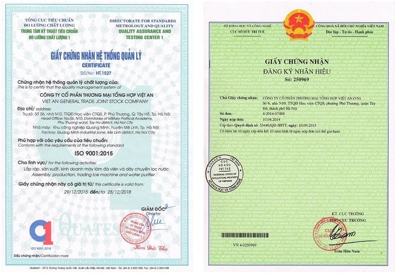 Chứng nhận thương hiệu VA- Tiêu chuẩn ISO 9001