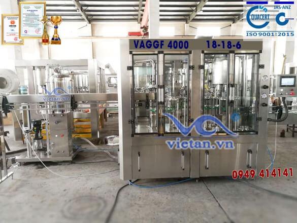 Máy chiết rót nước có ga bằng chai thủy tinh VAGGF4000- 4 in 1