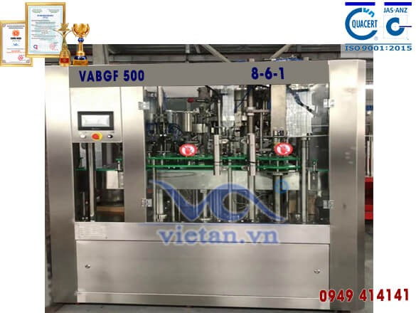 Máy chiết rót bia chai thủy tinh 300ml VABGF500 3 in 1