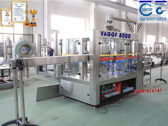 Máy chiết rót nước có ga bằng chai thủy tinh VAGGF8000- 4 in 1