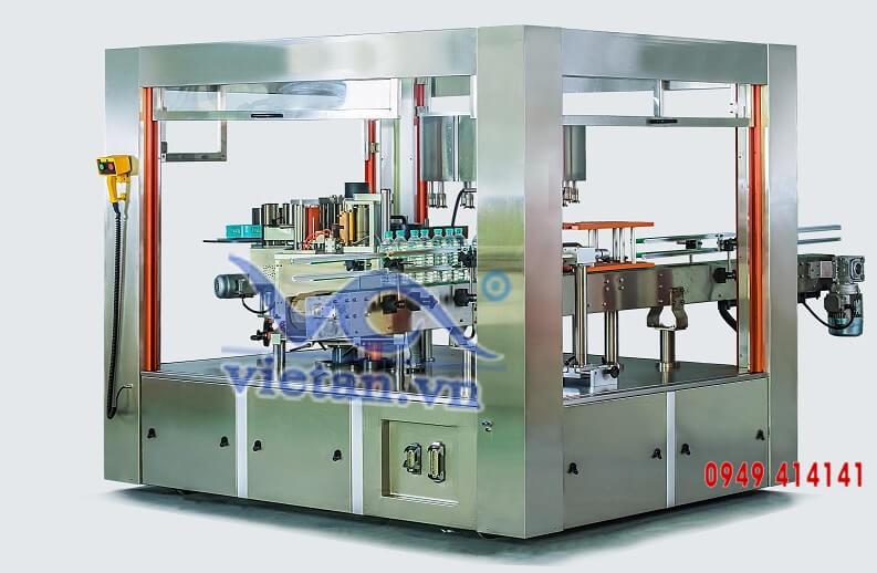 Máy dán nhãn tự động quay để dán nhãn chai tròn với nhãn opp và keo nóng chảy VAR15000