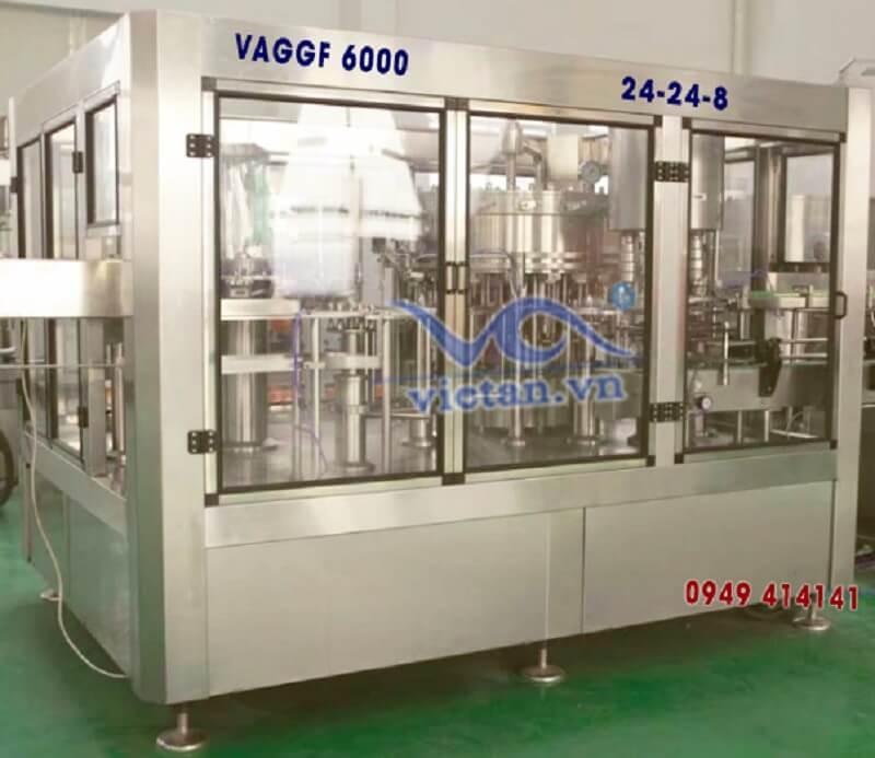Máy tráng rửa, chiết rót, đóng nắp chai thủy tinh VAGGF6000 3 in 1