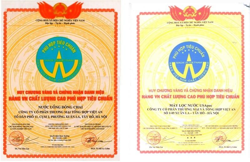 Huy chương vàng về máy lọc nước và nước uống đóng chai