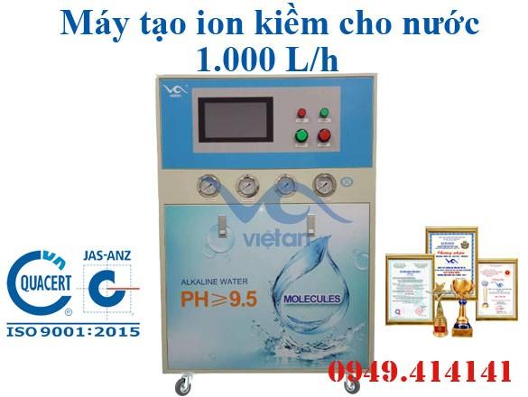 Máy tạo ion kiềm cho nước công suất 1000 L/h