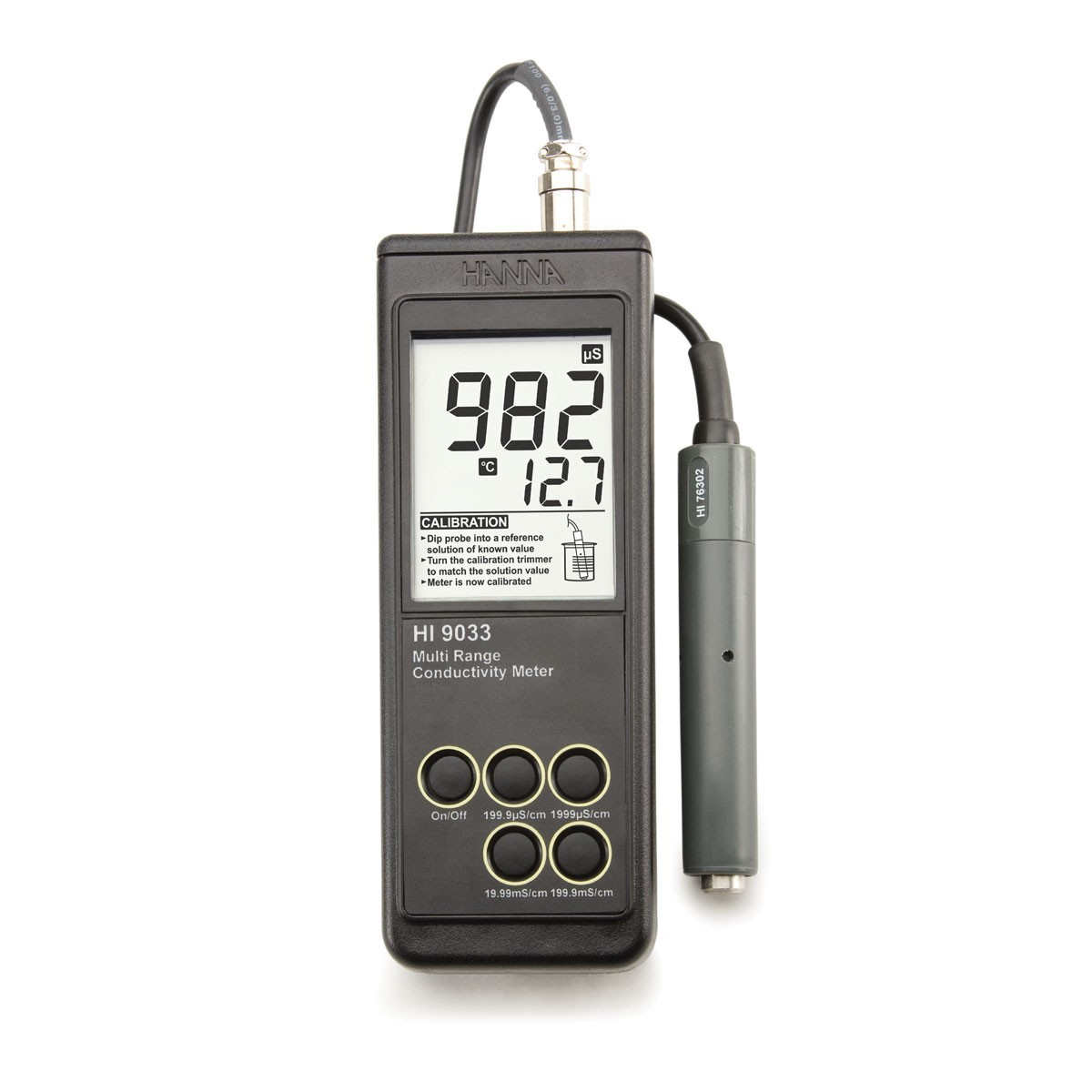 Máy đo độ dẫn cầm tay đa thang đo HI9033 Hanna