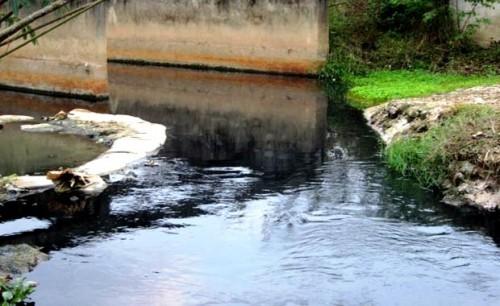 Nguồn nước đen ngòm vẫn chảy ra tại tuyến kênh hở ở cuối đường số 4 trong KCN Hòa Khánh