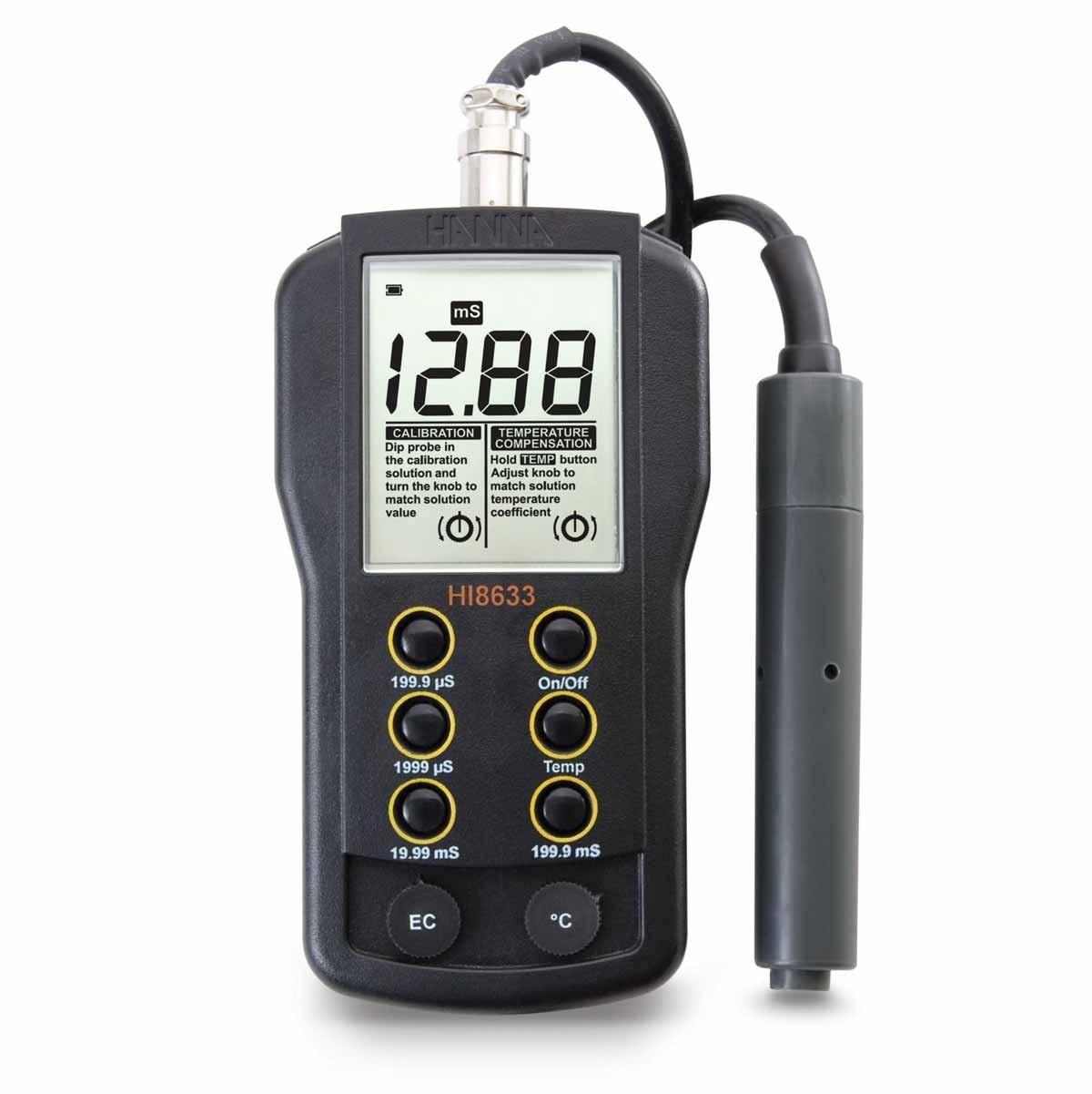 Máy đo độ dẫn (EC) đa thang đo bù nhiệt bằng tay HI8633 Hanna
