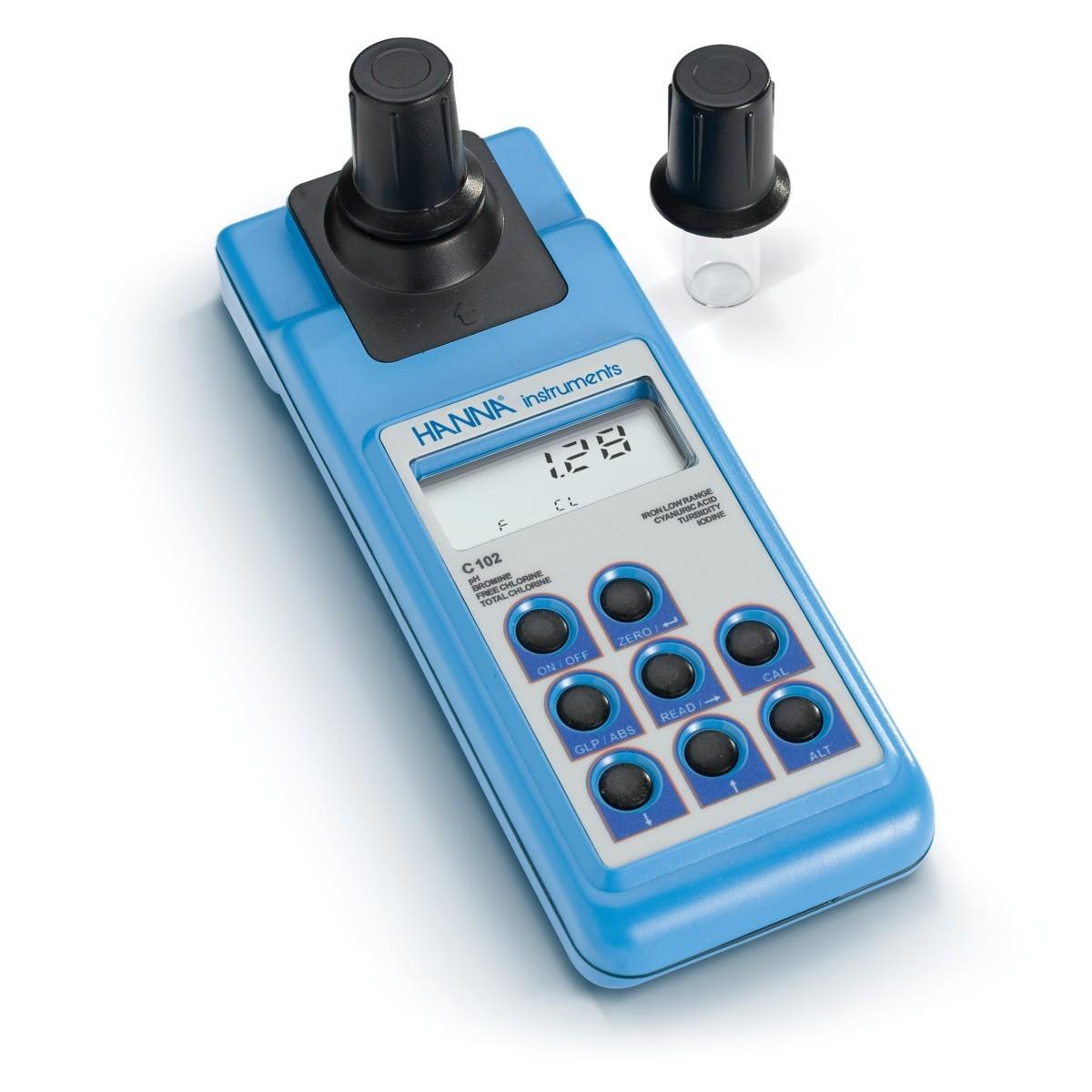 Máy đo pH, độ đục, Clo, Axit Cyanuric, Iot, Brom và Sắt HI93102 Hanna
