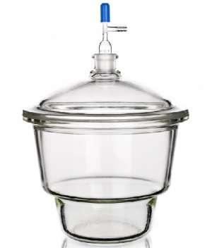 Bình hút ẩm có vòi dạng Mobilex, vĩ sứ nắp vặn GL32, DIN 150, khóa PTFE, 2.4 lít Duran