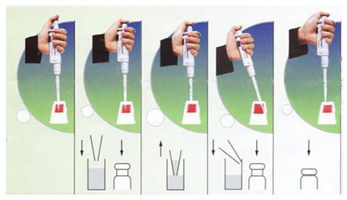 Hình ảnh minh họa cách dùng ống pipte lấy mẫu theo chiều xuôi