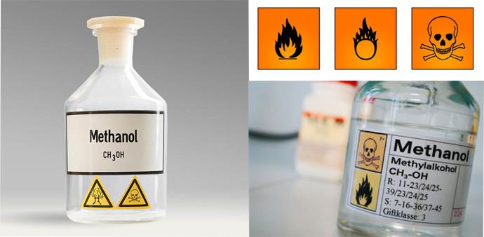 Kí hiệu rất độc và dễ cháy trên bao bì Methanol công nghiệp