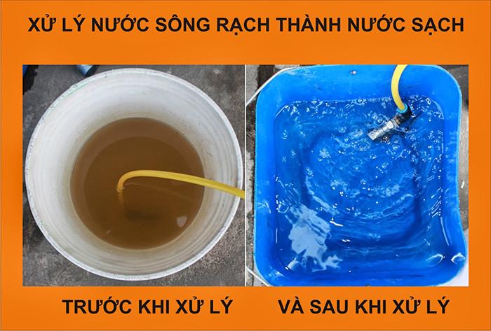 Hình ảnh trước và sau khi xử lý nước phèn