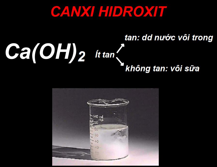 Tính tan của Canxi hidroxit
