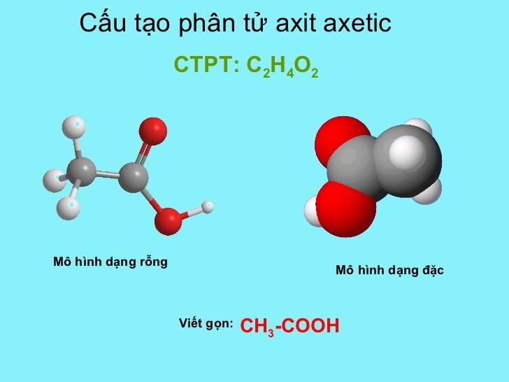 Cấu tạo phân tử axit axetic CH3COOH