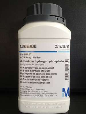 di-Sodium hydrogen phosphate anhydrous for analysis EMSURE® ACS,Reag. Ph Eur 500g Merck