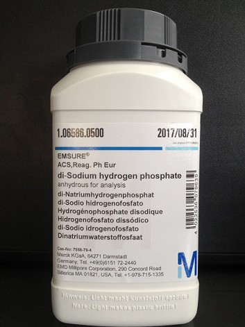 di-Sodium hydrogen phosphate anhydrous for analysis EMSURE® ACS,Reag. Ph Eur 500g Merck