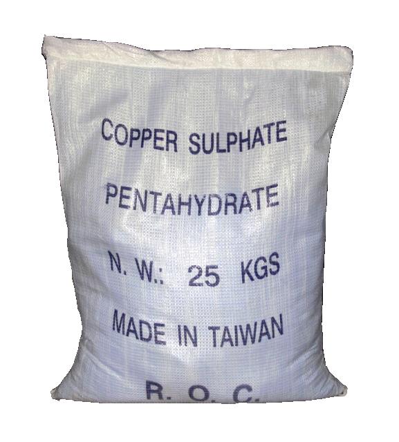 Copper sulfate 100% CuSO4, Đài Loan, 25kg/bao