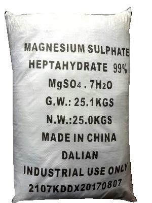 Magnesium sulfate 99% MgSO4.7H2O, Trung Quốc, 25kg/bao