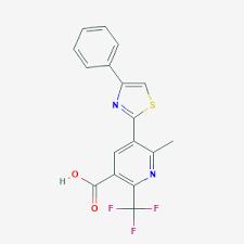 6-Methyl-5-(4-phenyl-1,3-thiazol-2-yl)-2-(trifluoromethyl)nicotinic acid, 97% 1g Maybridge